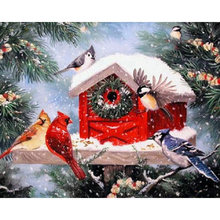 YIKEE Diamond Painting Christmas Bird Rhinestones Pictures Cross Stitch Mosaic House y1531(China)