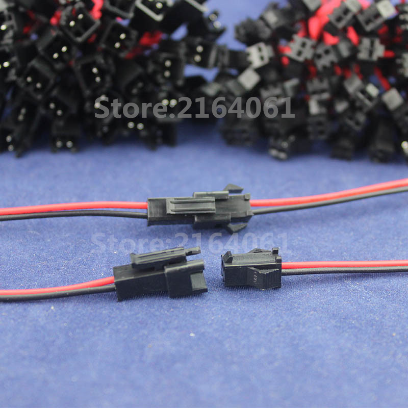 50 pair 150mm 26AWG Wire JST/SM 2PIN Connector Plug Cable Male+ ...