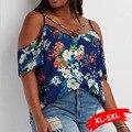 Plus Size Fora Do Ombro Criss Cross-Print Floral Blusa Para As Mulheres 4XL 5XL de Grandes Dimensões camisa doce para sexy senhora
