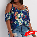 Plus Size Off The Shoulder Criss-Cross Floral Print Blouse For Women 4XL 5XL Oversized sweet shirt for sexy lady