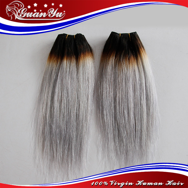 7a Ombre Grey Hair Extensions Dark Root Silver Grey Chinese Hair