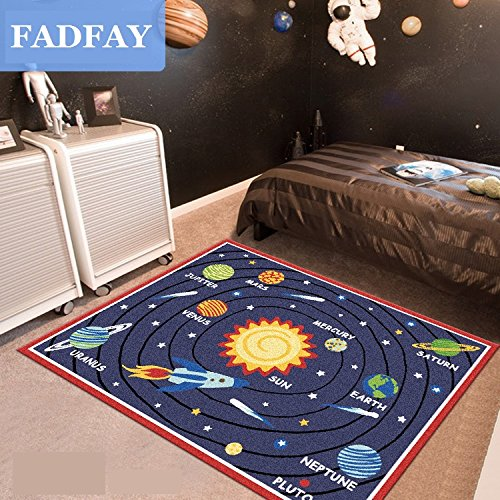 Designer Solar System Living Room Rugs Unique Stars Kids Bedroom Rug Modern Cartoon Planet