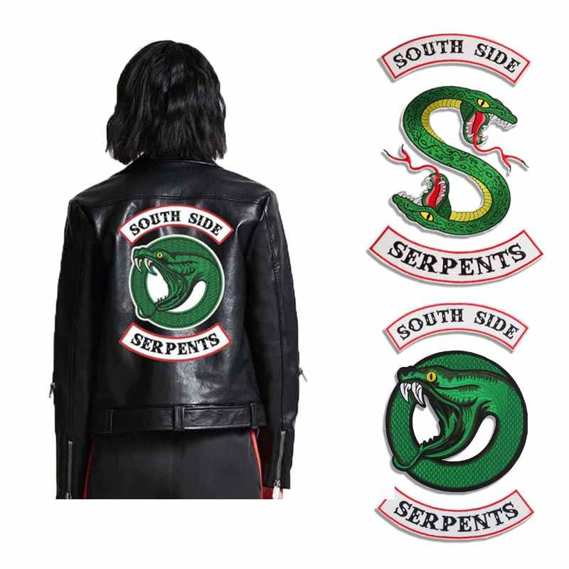 COSBILL South Side Serpent Patch Iron On Patches For Clothes Jacket Hoodies Applique Riverdale  TV-Show Snake Embroidered Y-196