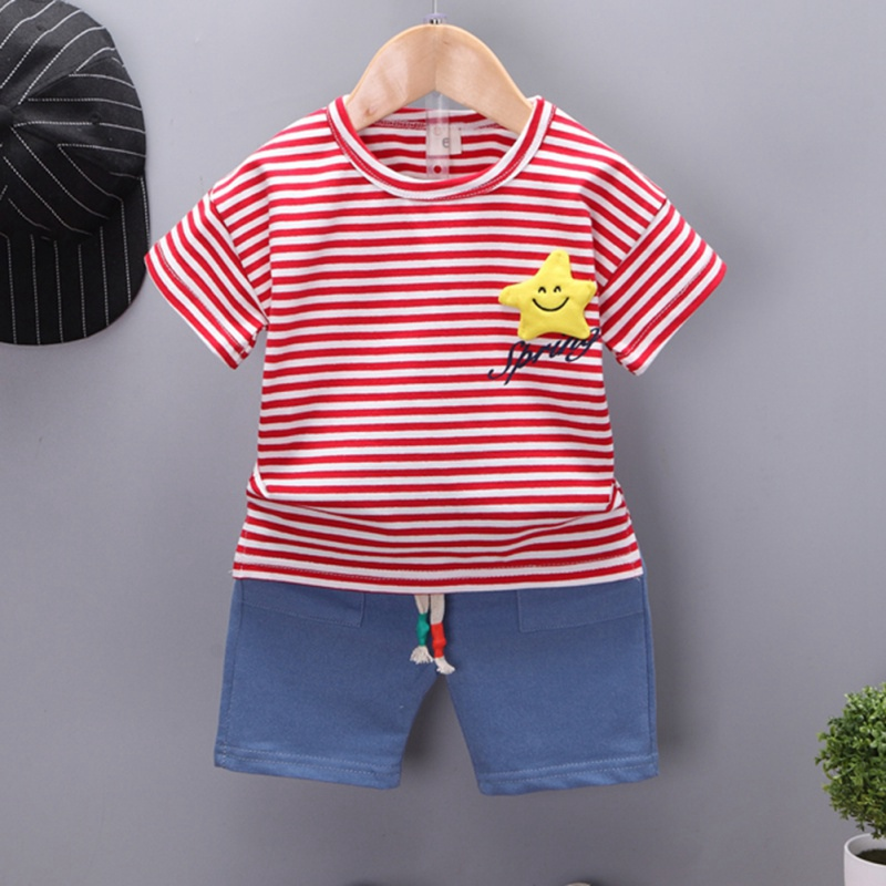 Summer Casual Children Baby Boys And Girls Clothes Star Pattern T Shirt And Pant Kit Kids Toddler Two piece Outfit Set in Clothing Sets from Mother Kids