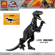 Dinosaur World Balck Raptor Building Blocks Toys DIY Model For Children Kids Gifts Compatible With Lego 27cm