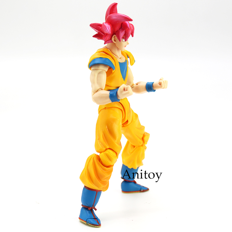 Image 5 - SHF Dragon Ball Super Saiyan God Son Goku Red Hair Gokou Dragon Ball PVC Action Figure Collectible Model Toy 15cm-in Action & Toy Figures from Toys & Hobbies