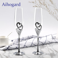 2 PCS Set Champagne Crystal Silver Toasting Flutes Long Wine Glasses Wedding Party Cup Wine
