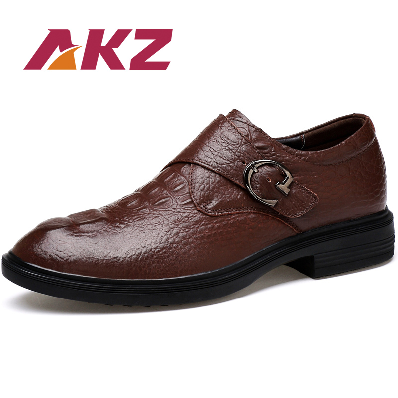 AKZ Genuine Leather Business Shoes 2018 New Spring Mens casual shoes Soft comfortable Breathable Men Flats shoes Big size38-48