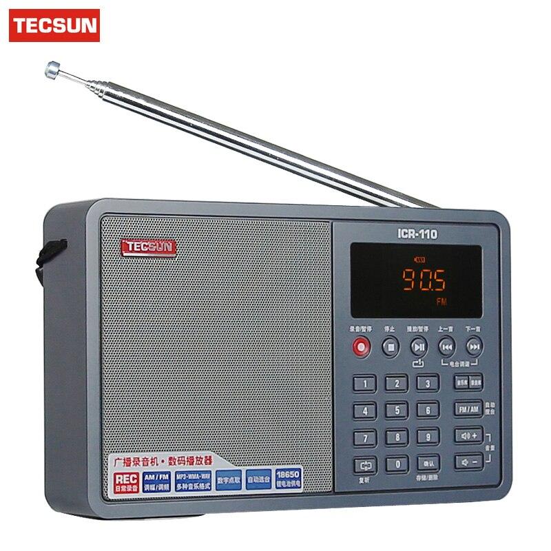 TECSUN ICR-110 FM/AM TF Card MP3 Player Recorder Radio ICR110 Mini-loudspeaker Recorder MP3 Player Radio FM 76-108 Broadcast портал сайт