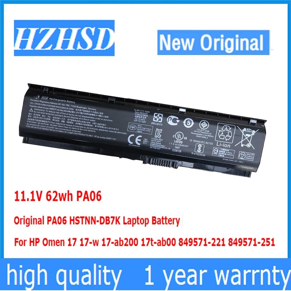 11.1 V 62wh HSTNN-DB7K PA06 PA06 Original Bateria Do Portátil Para HP Presságio 17 17-w 17-ab200 17t-ab00 849571-221 849571 -251