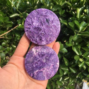 1pcs Beautiful high quality natural Charoite minerals crystal circle gemstone reiki healing crystals disk for DIY making jewelry