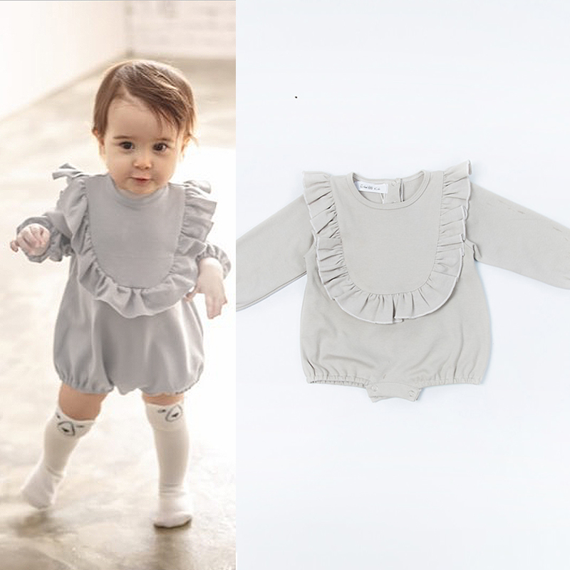 100% Cotton Baby Girl Romper Cute Long Sleeve Jumpsuit Toddler Fashion Clothes Girls Lovely Playsuit Ruffle Collar Girl Clothing ruffle embellished flower print cami jumpsuit