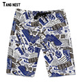 Men's Summer Beach Shorts 2017 New Fashion Men Casual Print Knee Length Beach Shorts Big Size Male Straight Loose Shorts MKD963