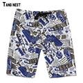 Men's Summer Beach Shorts 2017 New Fashion Men Casual Print Knee Length Beach Shorts Big Size Male Straight Loose Shorts MKD963