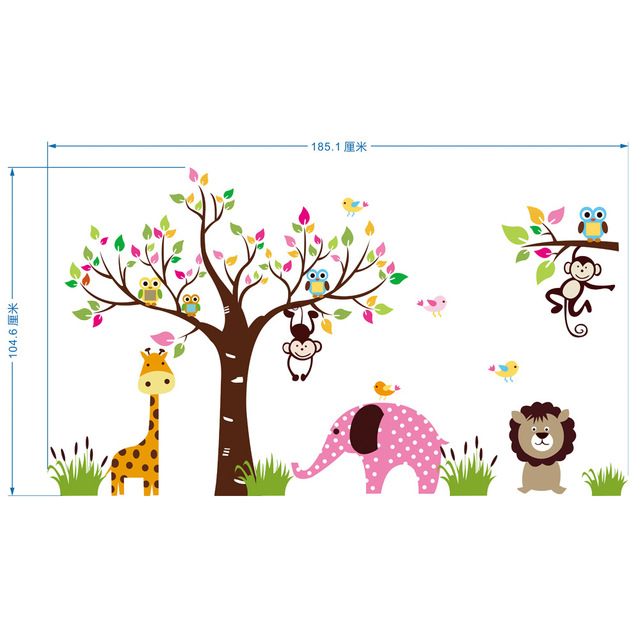 Extra Large Animals Paradise Wall Art Mural Poster Childrenu0027s Park  Kindergarten Wall Decoration Decal Sticker Kids Part 92
