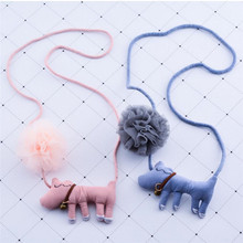 Korea Handmade Cute Yarn Flower Cartoon Dog Children Necklace For Girls Kids Apparel Accessories-HZPRCGNL037F