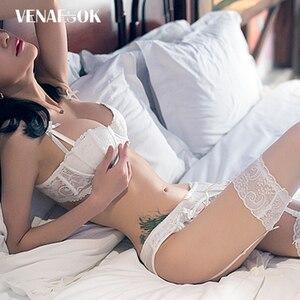 Image 2 - Đầm Ren Trắng Áo Lót Nữ Cotton Áo Push Up Nữ Bộ Áo Ngực 3 Bộ Áo + Quần Lót + Sọc bộ Đồ Lót Sexy Đen