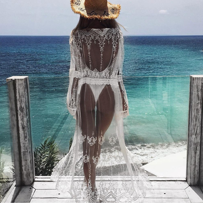 2018 New Sexy Women Chiffon Beach Cardigan Bikini Cover Up Wrap Beachwear Long dress Party