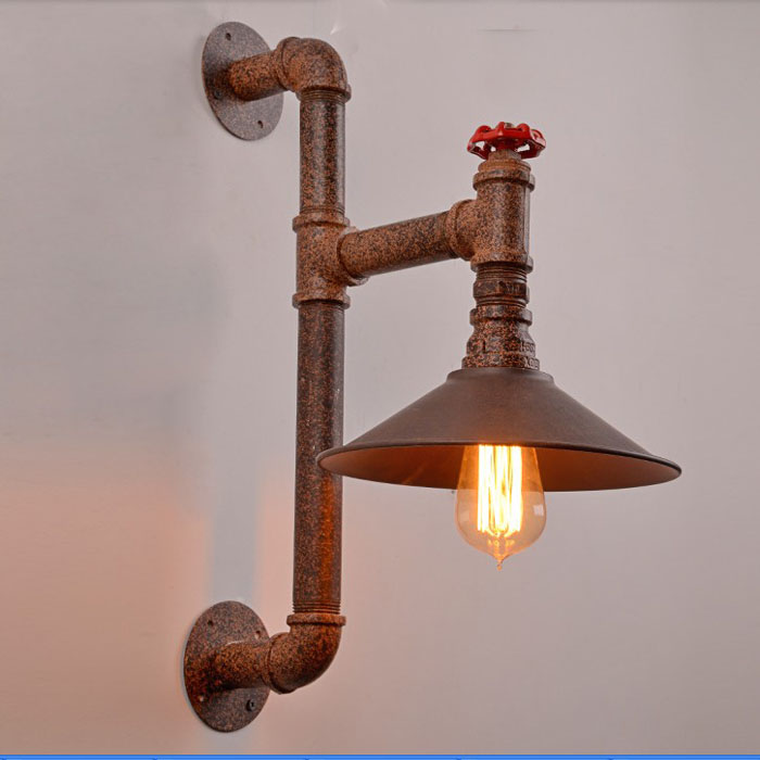 Wroguht Iron Water Pipe Wall Lamp Vintage Aisle Lights Loft Iron Wall Lamp Edison Incandescent Light BulbWroguht Iron Water Pipe Wall Lamp Vintage Aisle Lights Loft Iron Wall Lamp Edison Incandescent Light Bulb