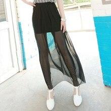 2019 Summer Women Fashion Transparent Mesh Midi Skirt Casual Sexy Black Chiffon Tulle Long