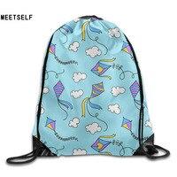 3D Print Kites Pattern Shoulders Bag Women Fabric Backpack Girls Beam Port Drawstring Travel Shoes Dust