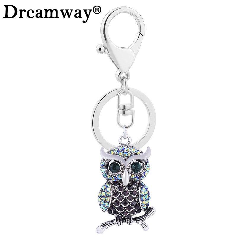 Fashion Accessories Rhinestone Owl Keychain Car Pendant Vintage Bird Key Chain women bag Key Ring llavero Delicate Hot Selling