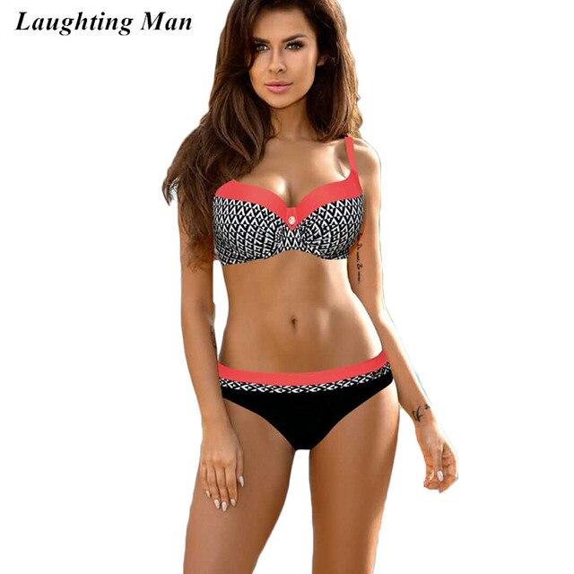 0e89e1827e91 € 18.67 |Riendo hombre impresión abstracta Bikinis 2017 patchwork push up  bañadores mujeres traje de baño sexy playa traje de baño biquini en ...