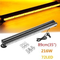 Autoleader 1Pcs 35 Inch 12V 216W 72LED Double Side Bright LED Flash Strobe Light Beacon Bar Warning Auto Yellow Signal Lamp