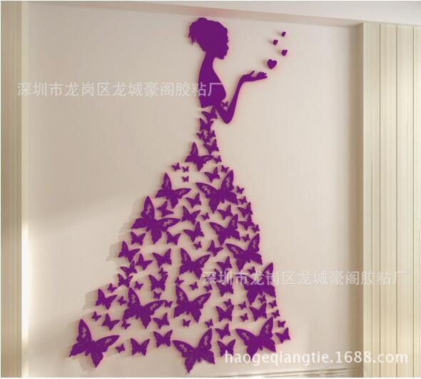 Bricolage romantique papillon robe de mariée 3D cristal stéréo stickers muraux filles chambre décoration salon stickers muraux décor à la maison