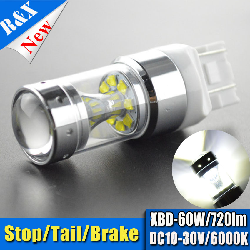 2pcs T20 7443 W21/5W High Power 12SMD XBD Yellow/Red/White Car LED DRL Reverse Light Projector Len 12V 24V Non Polarity