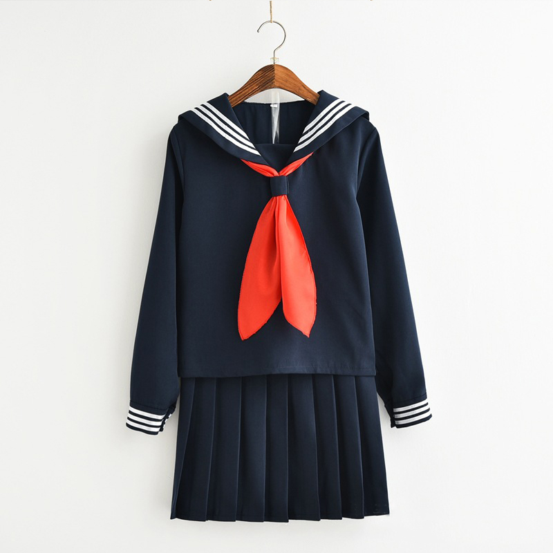 UPHYD Hell Girl Cosplay Sailor Uniform Enma Ai Costumes School Uniforms Red Tie Tops Pleated Skirt Full Sets