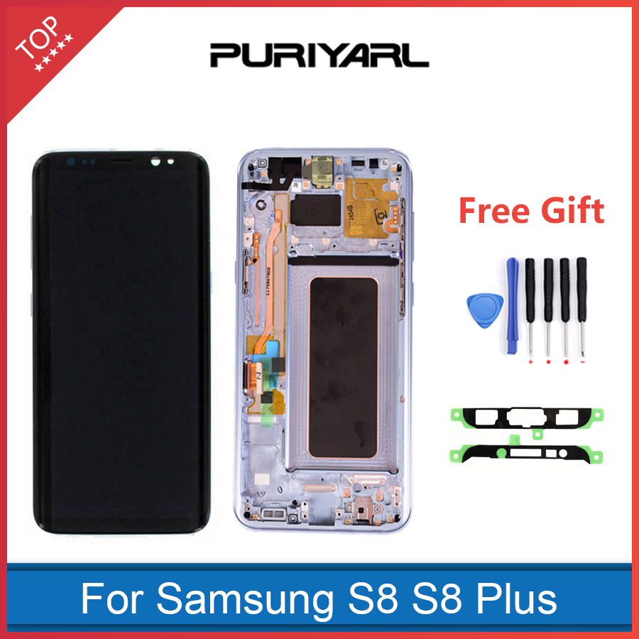 100% Original Work Super AMOLED LCD Display For Samsung S8 G950 S8 Plus G955 Touch Screen Digitizer Assembly Replacement+Gift
