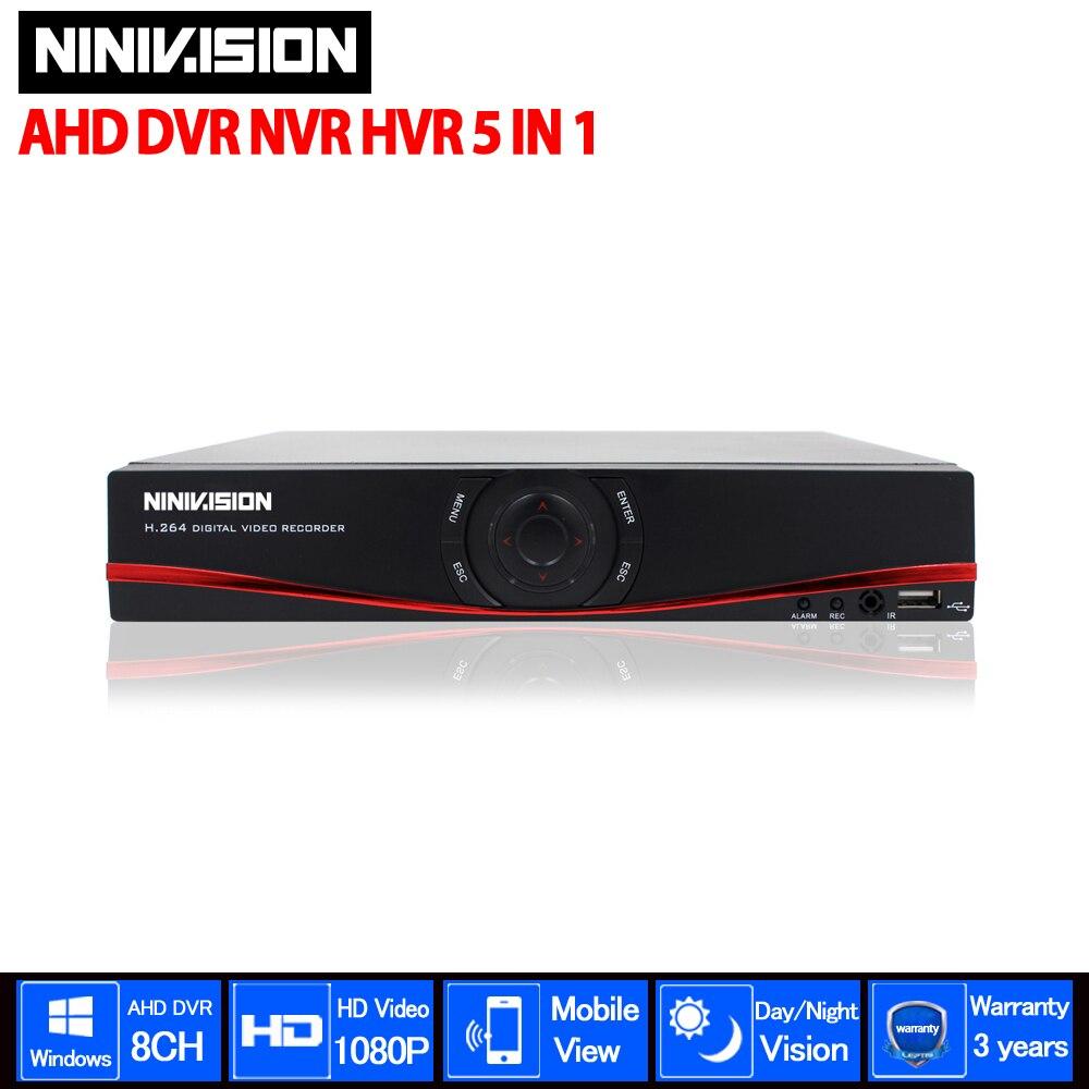 NINIVISION 4CH/8CH 1080P TVI.CVI .AHD-NH 5 In1 Hybrid DVR/1080P NVR Video Recorder AHD DVR For AHD/Analog /TVI/CVI /IP Camera smar mini hybrid 4ch 8ch ahdnh 1080n ahd dvr 5 in 1 ahd cvi tvi cvbs 1080p security dvr nvr for ahdm ahd camera 5mp ip camera