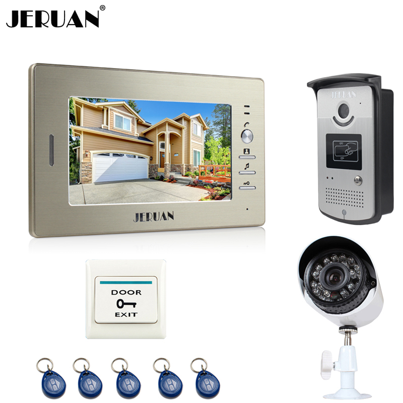 JERUAN luxury 7`` LCD Video Intercom Door Phone System 1 Monitor 1 RFID Access Camera + 700TVL Analog Camera+EXIT button jeruan two 7 monitors lcd screen video intercom video door phone handsfree access control system 700tvl camera cathode lock