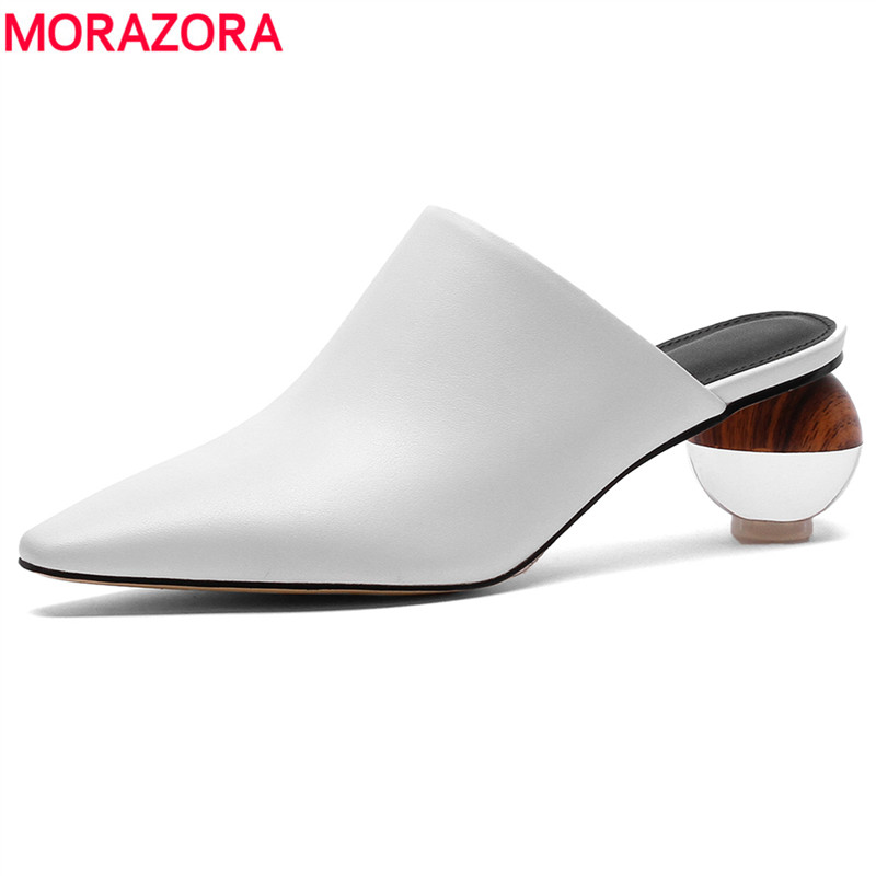 MORAZORA 2019 Newest Pumps Women Genuine Leather Shoes Pointed Toe Crystal Heels Summer Shoes Fashion Casual Mules Shoes Woman