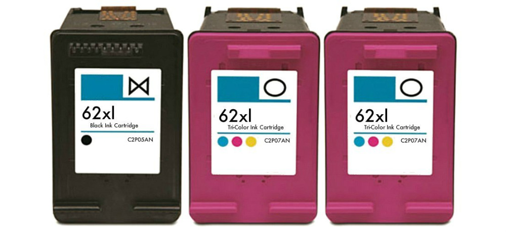 HISAINT Remanufactured Ink Cartridge Replacements for HP 62XL (1 Black, 2 Color, 3-Pack) Free shipping
