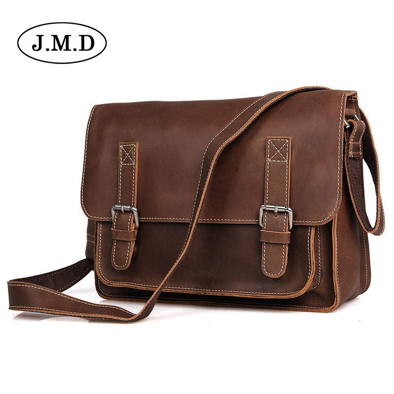 J.M.D Crazy horse leather bag business Shoulder Messenger bags Vintage Retro briefcase men's handbags 7089 redfox сумка full size business messenger 1000 черный
