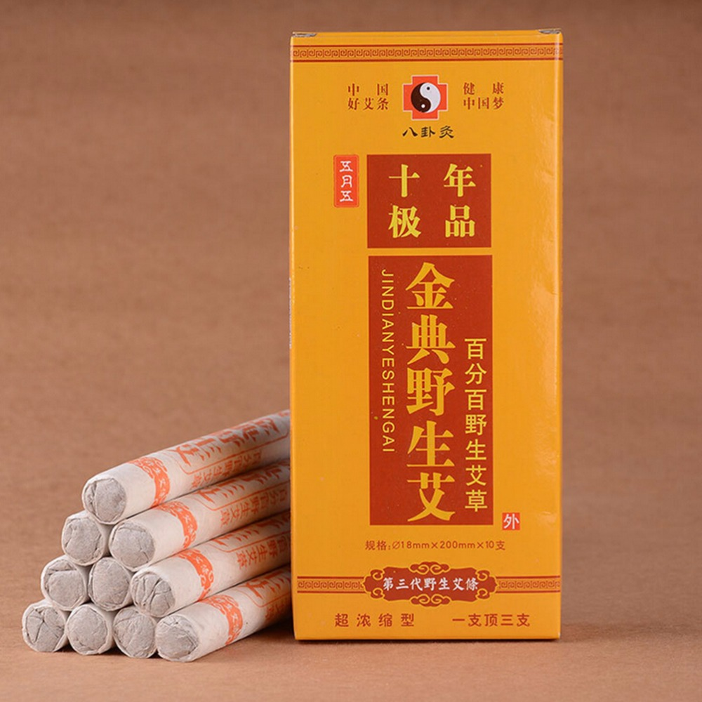 HOT 10pcs/box Moxibustion Sticks Old Traditional Ten Years Moxa Roll Moxibustion Relieve Pain Burner Stick