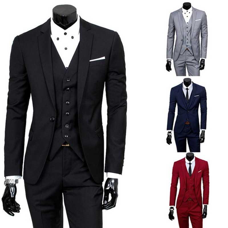 Litthing Mens 3Pc (paletó + Colete + Calça) primavera macho Negócio Vestido de Slim Fina Sólida Terno Ocasional Terno Do Escritório Ternos Blazer