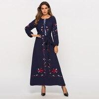 809a95cb91 Muslim Blue Dress Abaya Women Embroidery Dresses Bangladesh Islam Muslim  Printing LongSleeve Arab Dress Islam Jilbab. Abaya muçulmano Vestido Azul  Mulheres ...
