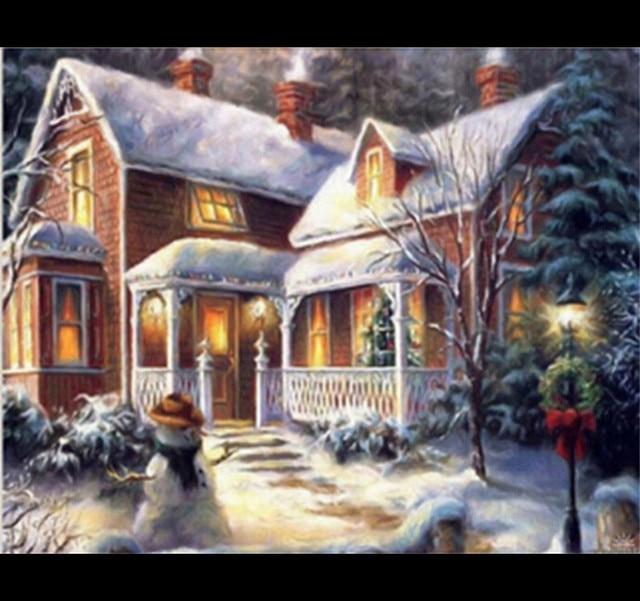 Christmas Snow House Diy Diamond Painting Embroidery Cross Stitch Needlework 5d Drawing Rhinstone