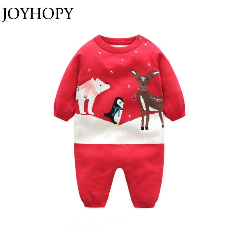 JOYHOPY Newborn Baby Girl Clothes Christmas Baby Romper Warm Knit Sweater Long Sleeve Autumn Winter Baby Rompers mother nest 3sets lot wholesale autumn toddle girl long sleeve baby clothing one piece boys baby pajamas infant clothes rompers