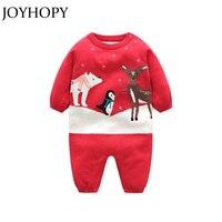 JOYHOPY Newborn Baby Girl Clothes Christmas Baby Romper Warm Knit Sweater Long Sleeve Autumn Winter Baby