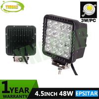 YNROAD 2pcs 4inch 48W Led Work Light Fog Light For Offload Truck Use 16pcs 3W Epsitar