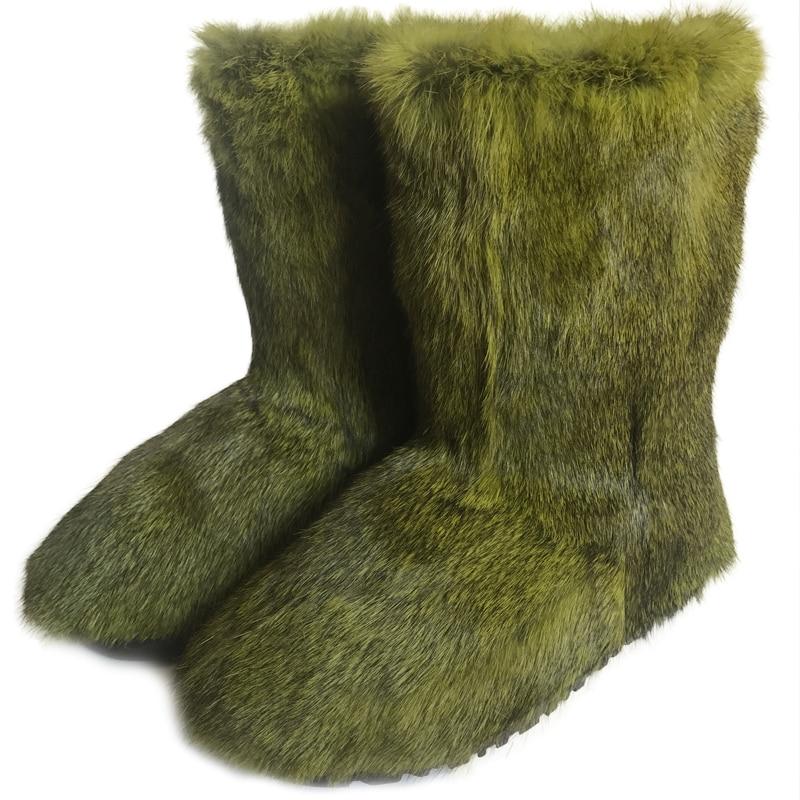 2017 Micholediys Handmade Winter Original Short Snow Botas Women Rabbit Fur Mid-calf  Boots Warm Zapatos Mujer Shoes