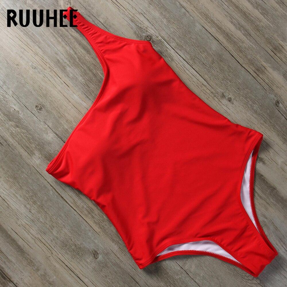 Buy RUUHEE One Piece Swimsuit Swimwear Women Solid Bathing Suit Sexy One shoulder Bodysuit Padded Monokini Female Swimming Wear