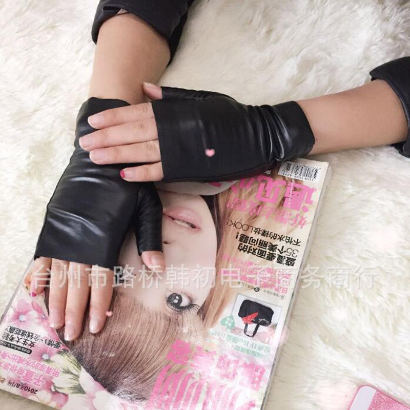 Fashion Female Thin PU Leather Punk Dance Gloves Women Half Finger Non-slip Driving Sexy Fingerless Nightclub Show Gloves S89