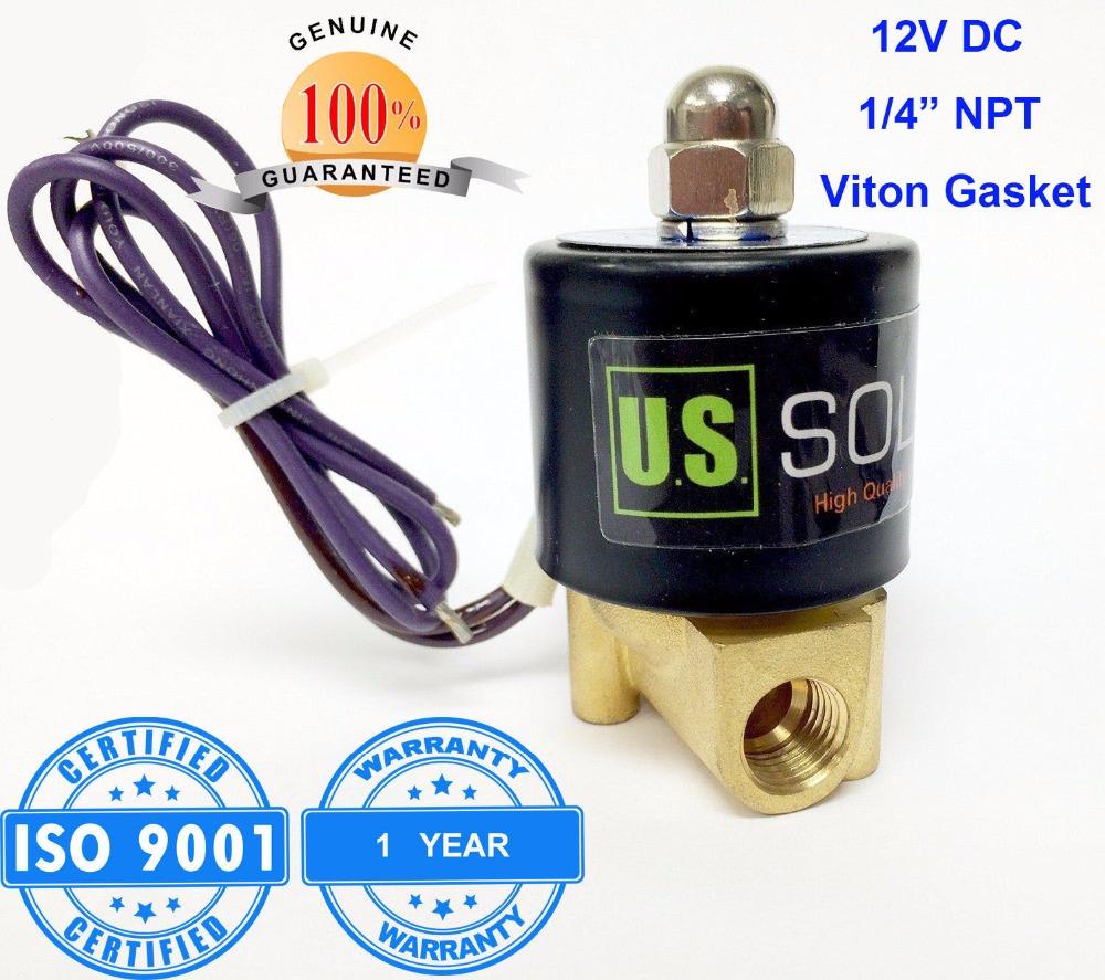 U.S. Solid 1/4 12V DC Brass Electric Solenoid Valve NPT Thread Normally Closed water, air, diesel... ISO Certified