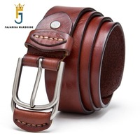 FAJARINA Top Quality Novelty Design 100 Pure Genuine Leather Belts Handmake Cowhide Cover Pin Buckle Metal