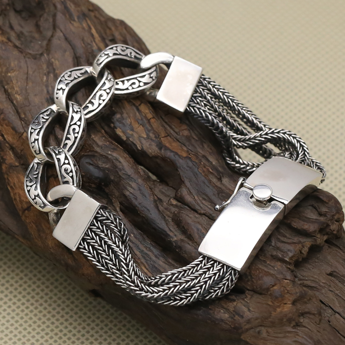 Vintage Solid Sterling Silver 925 Multi Strand Weave Bracelet Men Women Thick Link Band Handmade Antique Silver 925 Jewelry Gift все цены